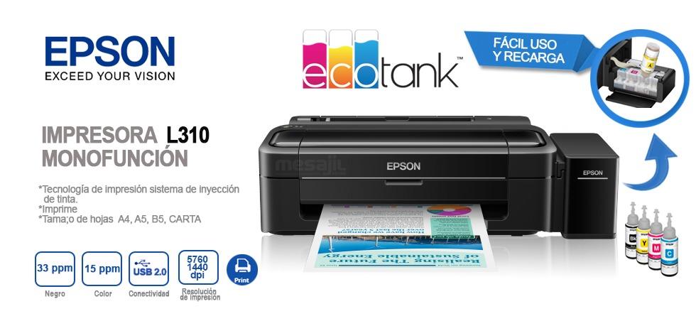 Impresora Epson Ecotank L310 2 799 00 En Mercado Libre