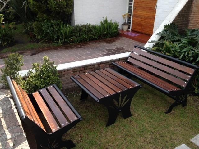 Muebles Para Jardin Bancas Y Mesa Originales   1400000 en Mercado Libre