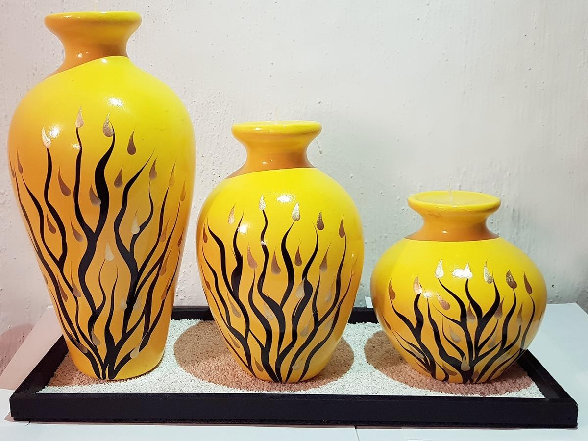 Jarrones Decorativos Artesanales De Ceramica Con Vela