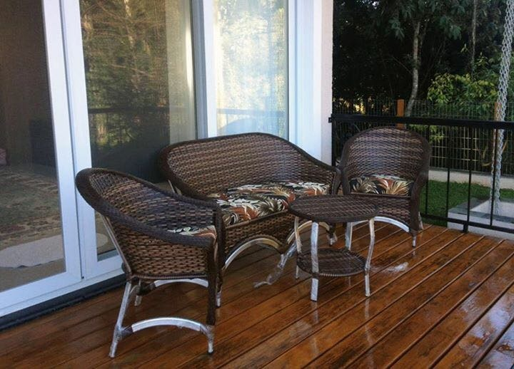 Jogo De Sof Cadeira Mesa Fibra Varanda Gourmet rea Externa  R 247100 em Mercado Livre