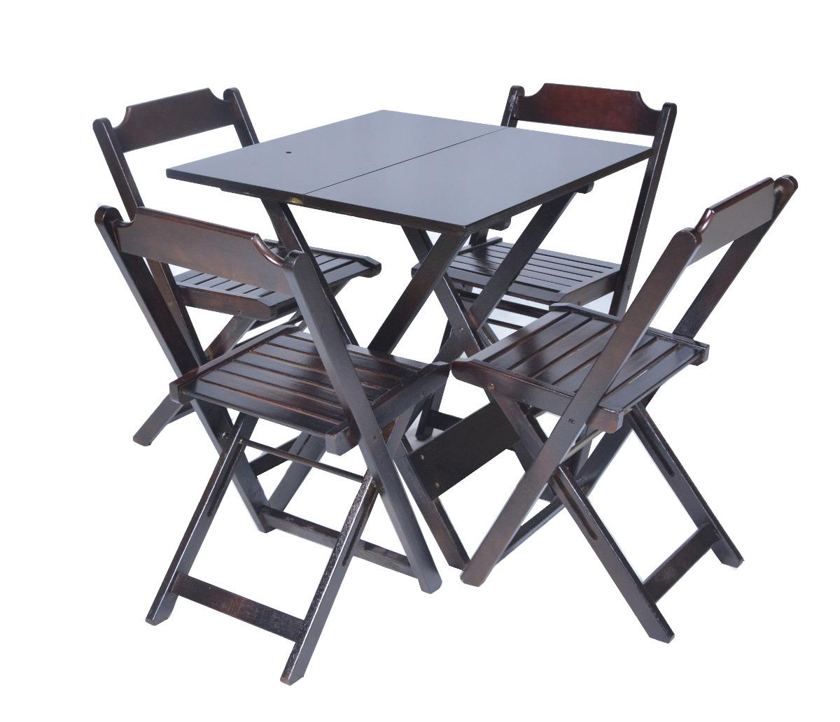 Jogos De Mesas Bar 70x70 C 4 Cadeiras Em Madeira