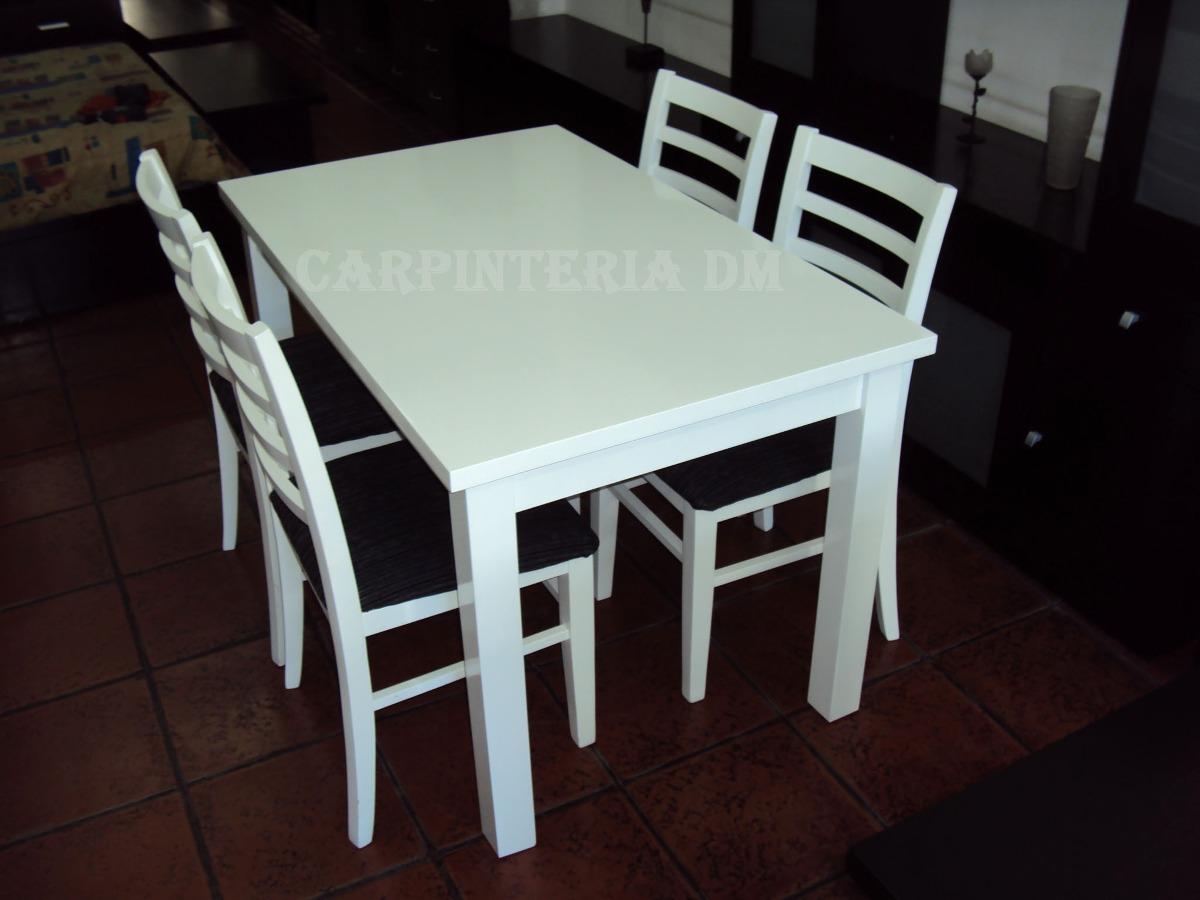 Juego De Comedor Blanco Mesa 107x75cm Y 4 Sillas Tapizadas