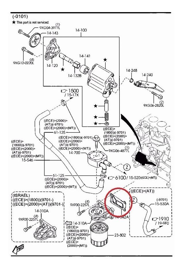 Juego De Empaques Enfriador De Aceite Mazda 3, 5, 6, Y Cx