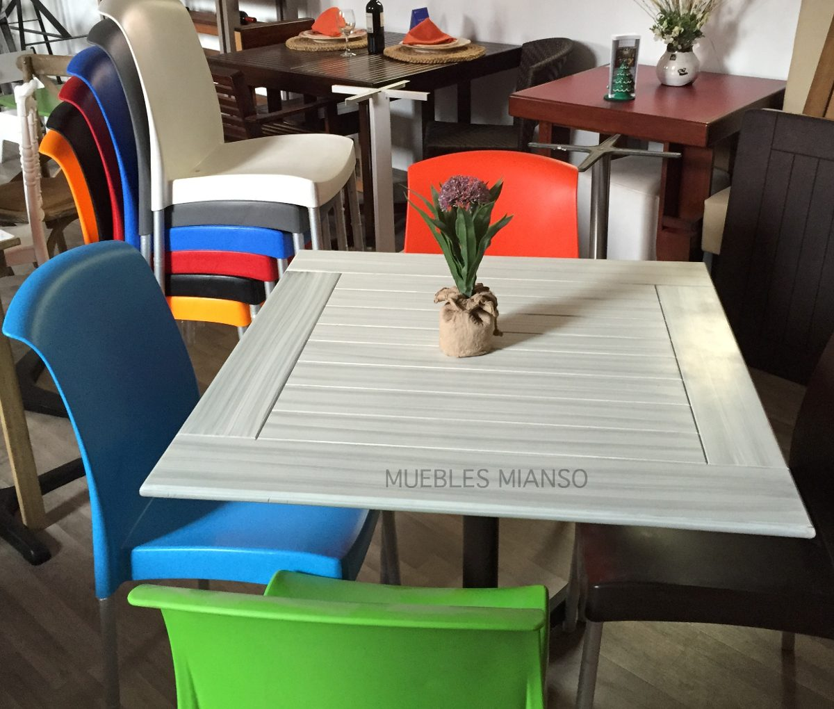Juego De Mesa Patina Con Silla Plstica Restaurantes