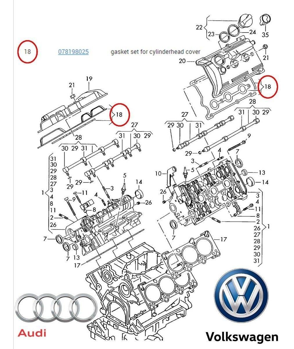Junta Empaque Tapa Punteria Audi A4 A6 Vw Passat V6 / 97
