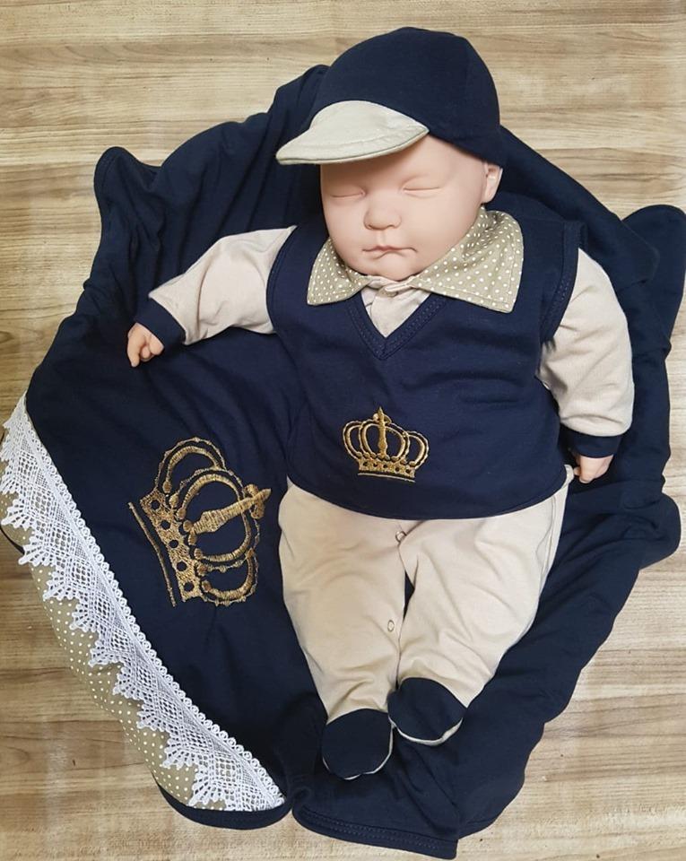 Kit Saida Maternidade Menino Azul Marinho Colete Coroa - R$ 132.00 em Mercado Livre