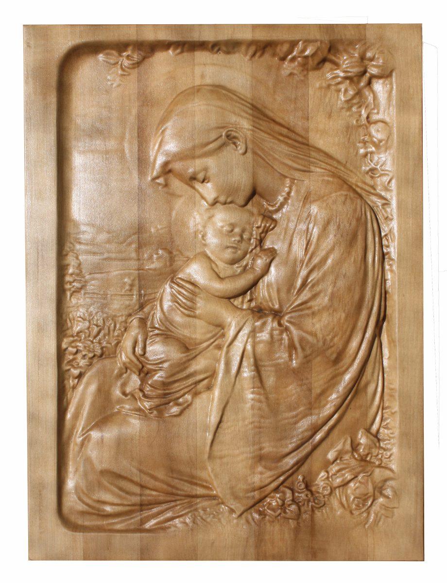 La Virgen Y El Nio Madera Tallada   27990 en Mercado Libre