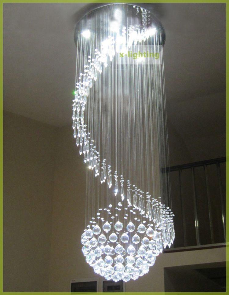 Lampara De Cristal Forma Redondo En Espiral Luz Led P