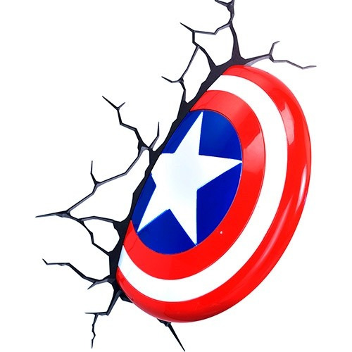 Lampara Para Pared 3d Escudo Capitan America Marvel Disney