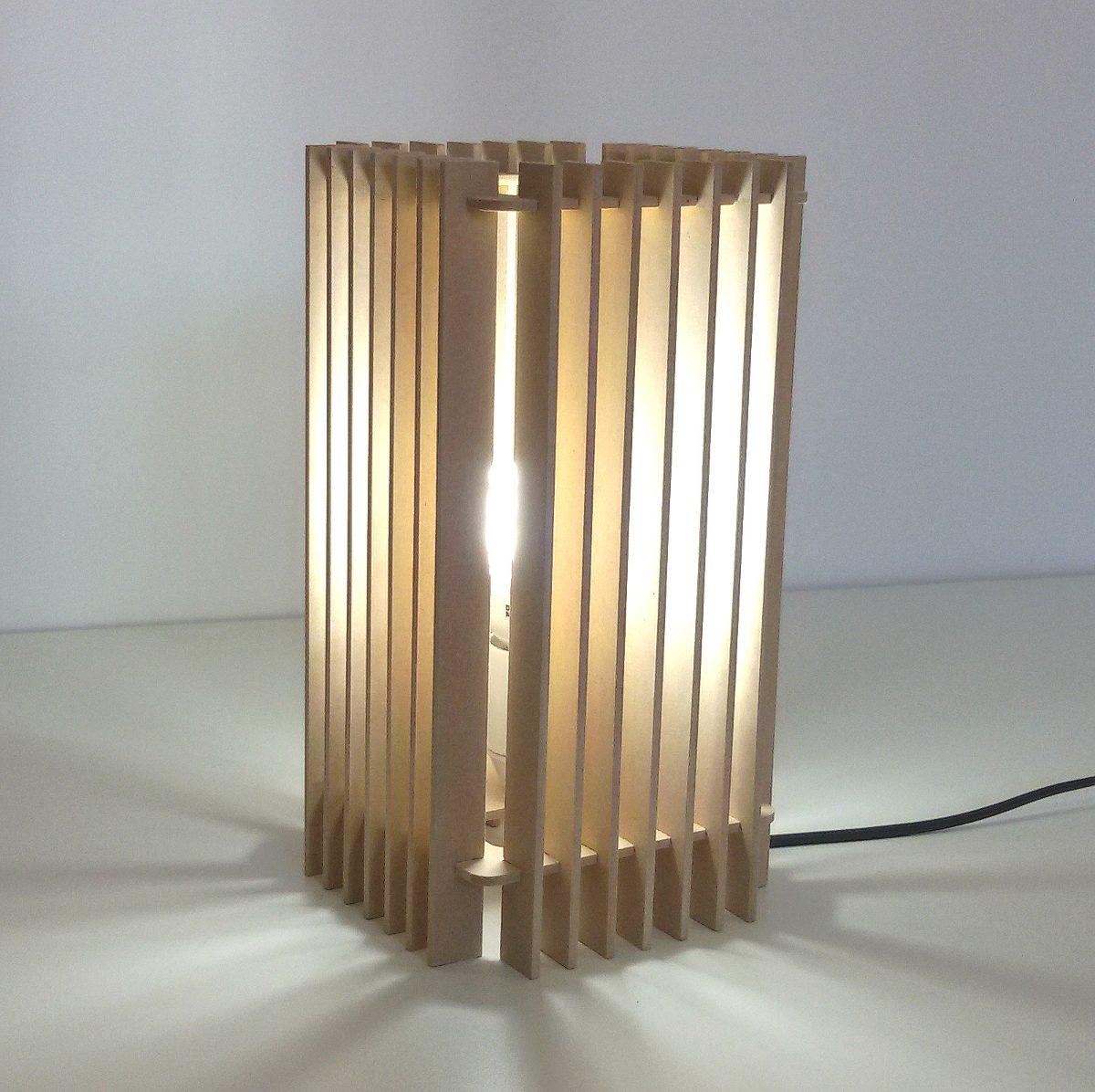 Lampara Velador Para Mesa De Luz En Madera Mdf Modelo