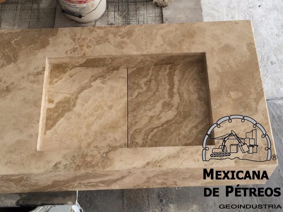 Lavabo Minimalista De Mrmol Travertino Serpentino Para Bao   325500 en Mercado Libre