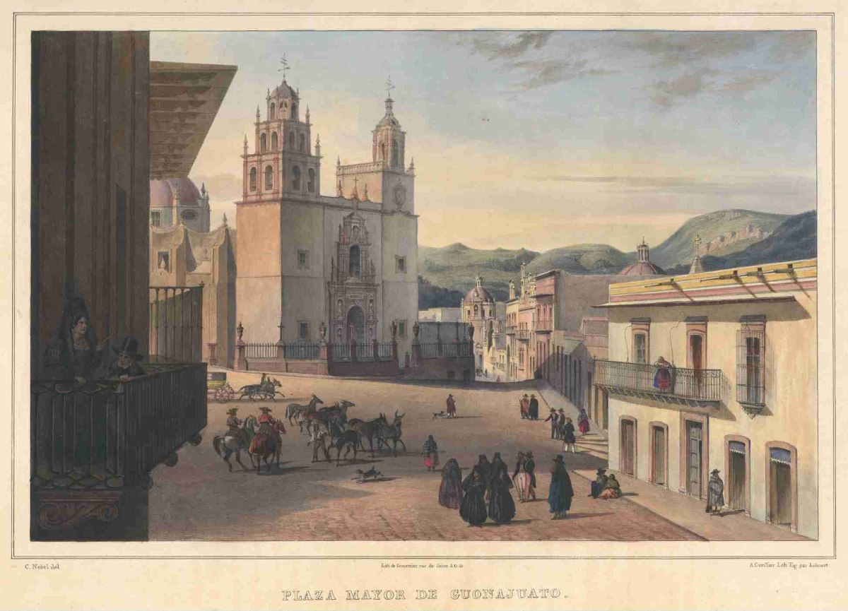 Lienzo Tela Grabado Nebel Plaza Guanajuato Mxico 1836