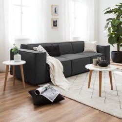 Linx Sofá Estilo Moderno Tela Color Gris Oscuro $ 16 949