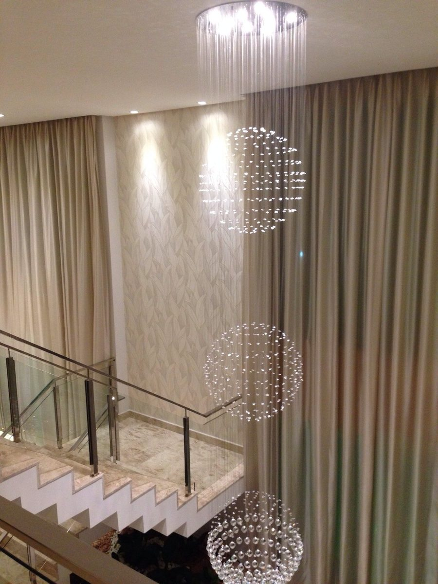 Lustre Cristal sala vo De Escada P Direito Duplo G360