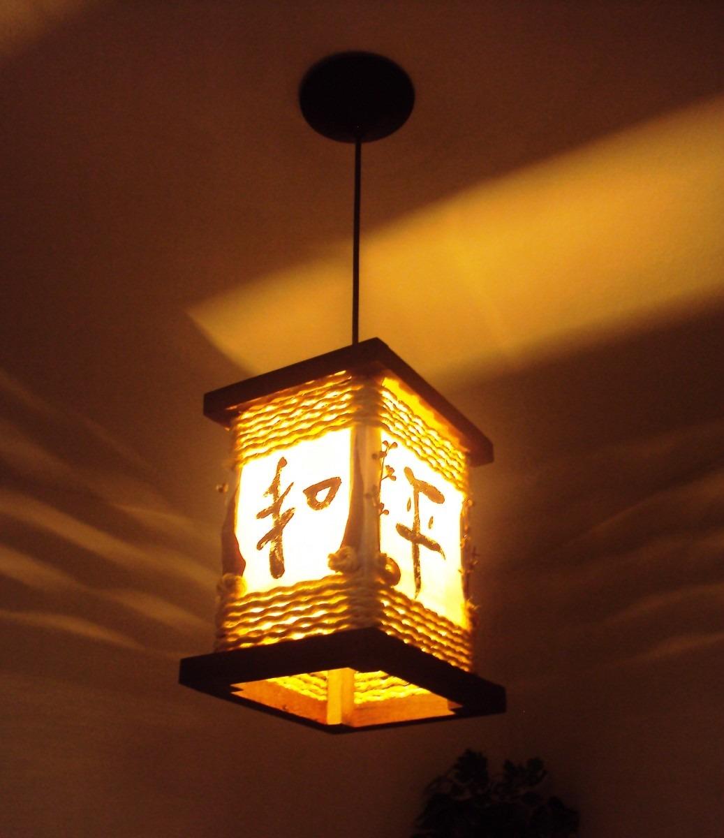 Lustre Estilo Oriental Rustico Ideograma Japons Luminria