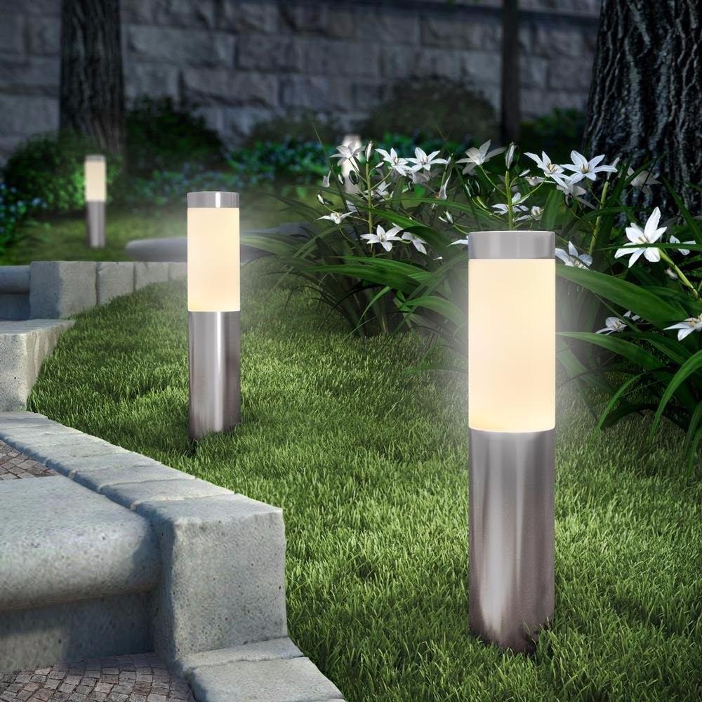 Luz De Jardim Em Inox C Espelho Solar E Luz De Led  2
