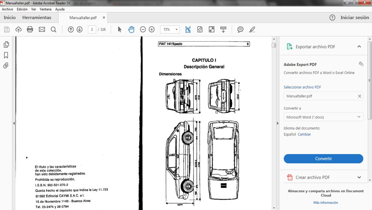 Manual De Taller Servicio Fiat 147 Spazio Fiorino Pdf Esp