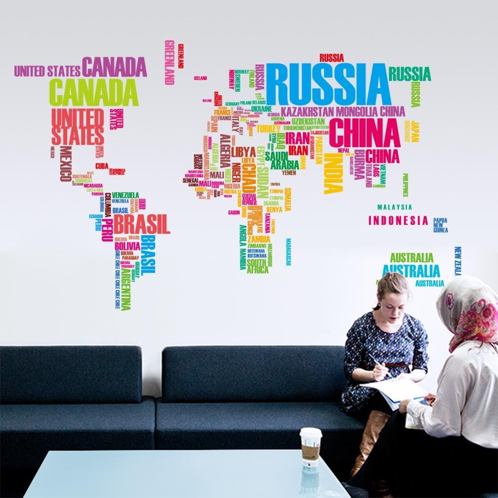 Np Name 3d Wallpaper Mapa Mundial Letras Color Vinil Sticker Mapamundi Pared