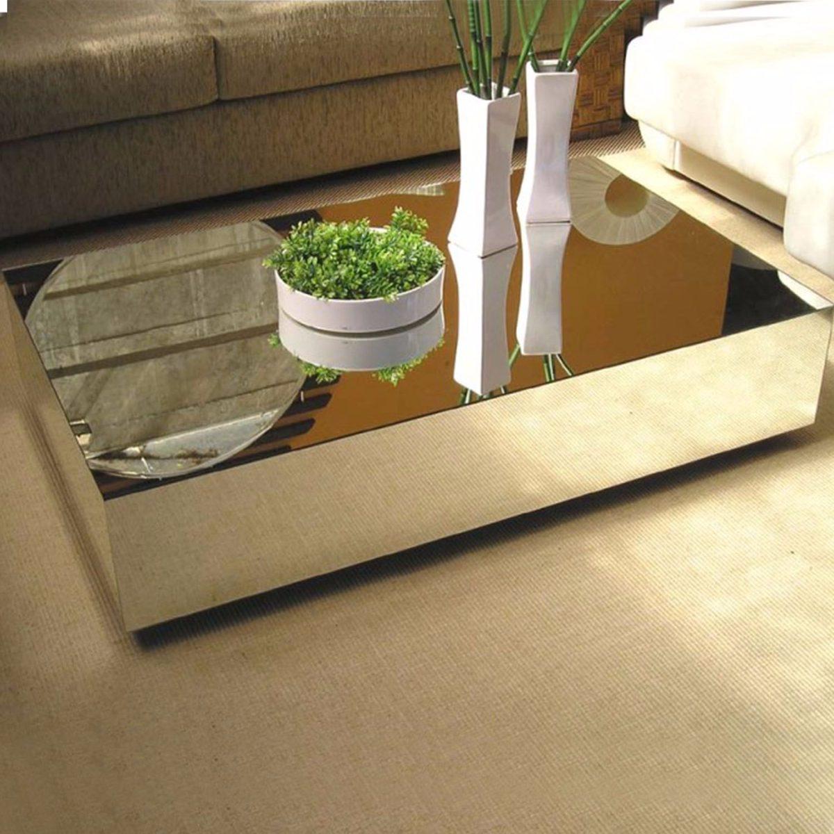 Mesa Centro Espelhada Vidro Para Sala Moderna Cristal  R 22990 em Mercado Livre