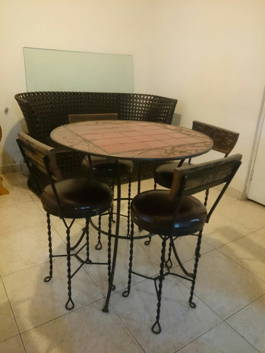 Mesa Comedor De Forja Azulejo Y Madera   680000 en