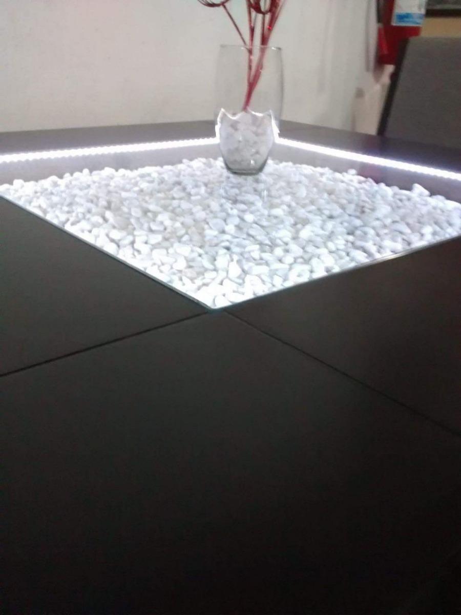 Mesa Comedor Para 8 Sillas Cristal Central Con Luz Led