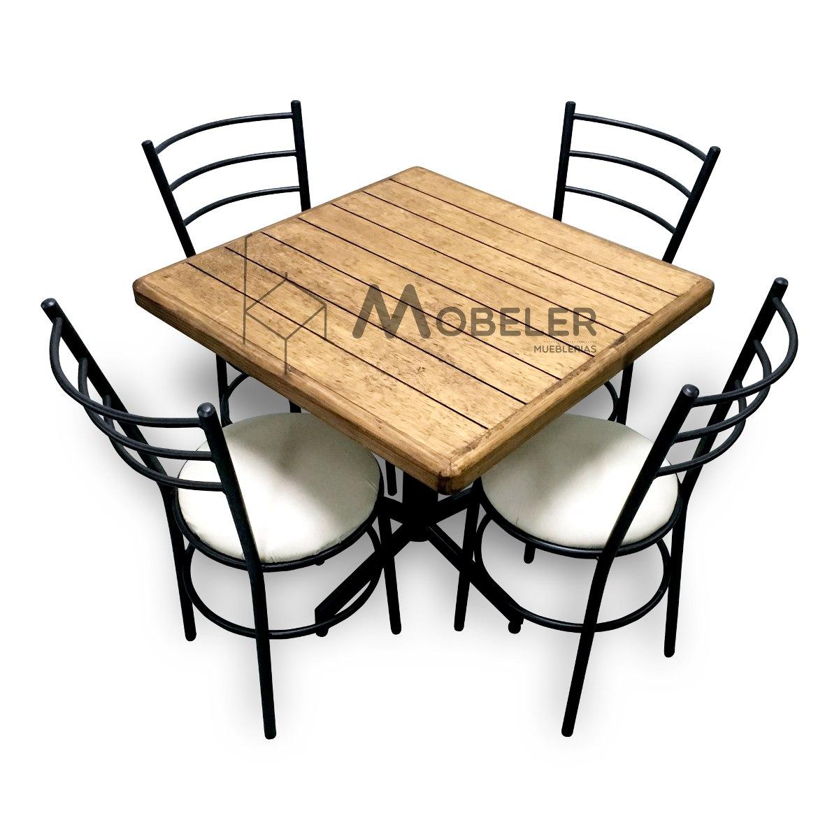 Mesa De Madera Sillas Para Restaurante Bar Cafetera