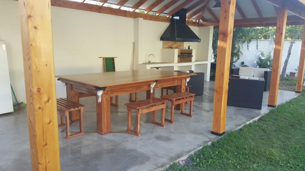 Mesa De Pool Comedor Rstico Con Bancas Y Pin Pon   950