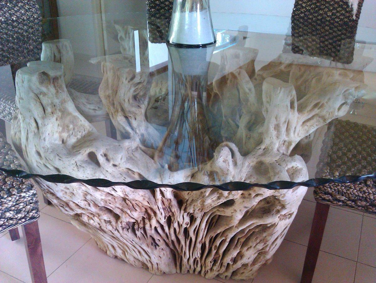 Mesa De Raz De Cactus Con Cubierta De Vidrio De 12 Mm