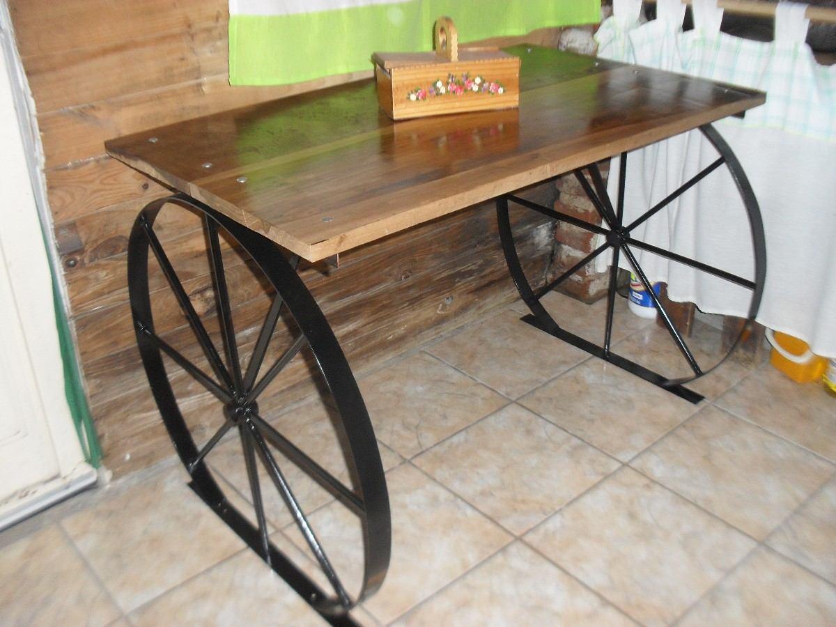Mesa Para Exterior Rustica Estilo Campo En Hierro Y Madera