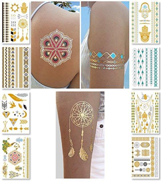 Metálicas Tatuajes Temporales Para Mujeres Adolescentes Chic