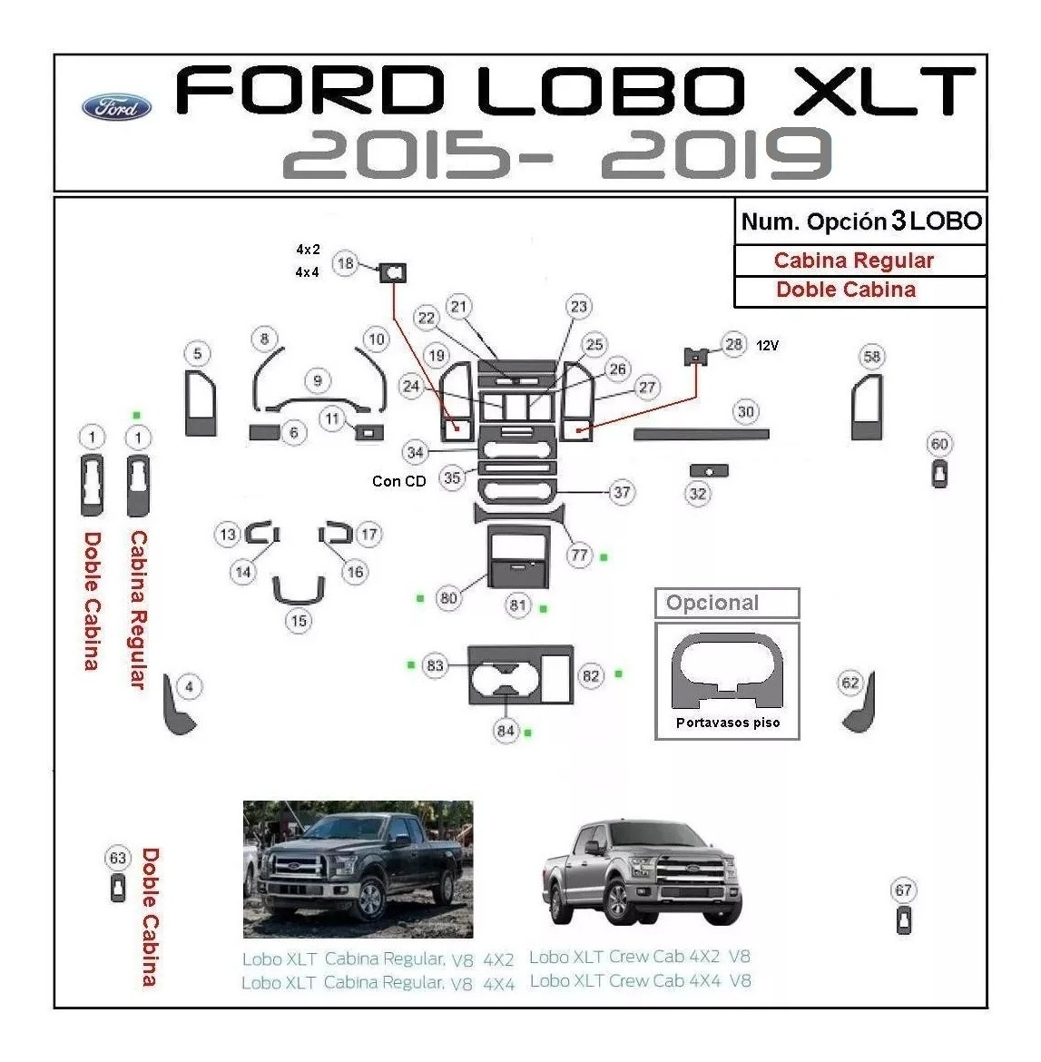 Molduras Tablero Ford F150 Xl Lobo Xlt
