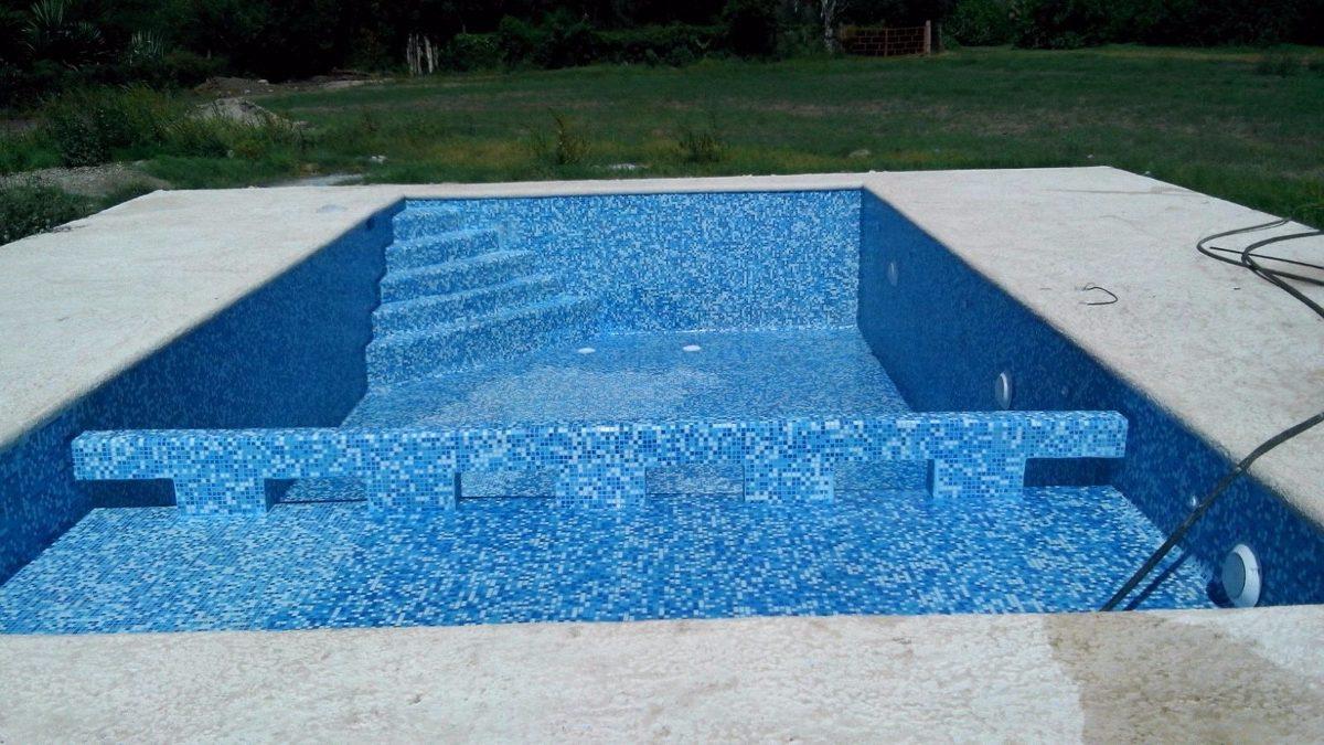 Mosaico Veneciano 2x2 Cm Mezcla De Azules Con Blanco