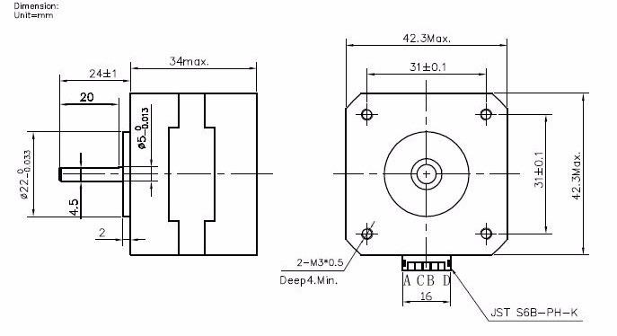 Motor De Passo Nema 17 Jk42hs34-0424a Impressora 3d Ou Cnc