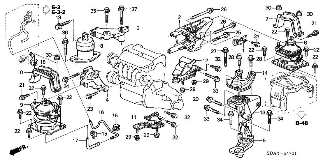 Kit 2 Coxim Motor Honda Accord 2.0 2003 2004 2005 2006