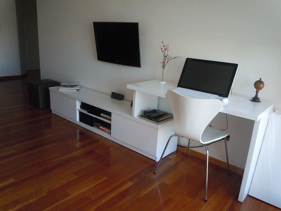 Mueble Bajo Para Tv Lcd Led Con Escritorio Laqueado   17
