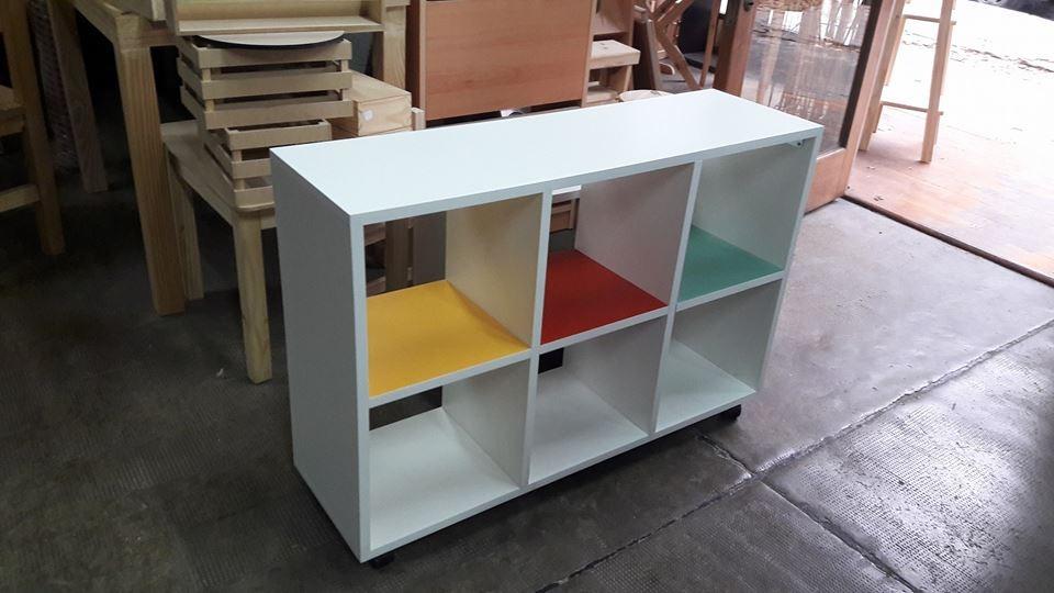 Mueble Biblioteca Cubo Con Estantes Minimalista En