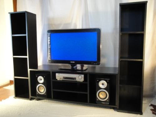 Mueble Con Libreros Centro De Tv Para Pantalla Lcd Plana   360000 en Mercado Libre