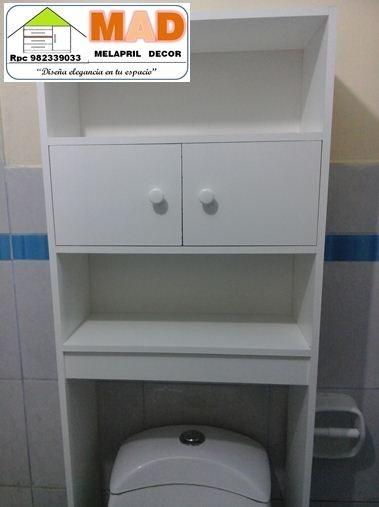 Mueble De Bao Estante Repisa Inodoro Melamine Bl  S 22900 en Mercado Libre