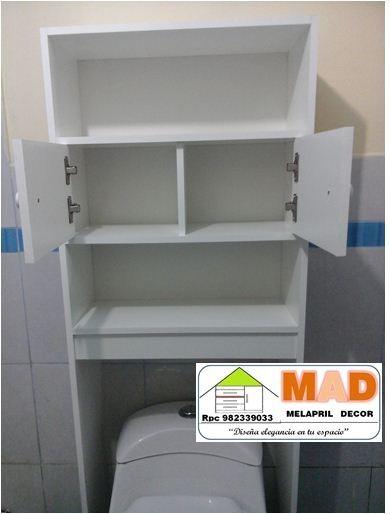 Mueble De Bao Estante Repisa Inodoro Melamine Bl  S 229