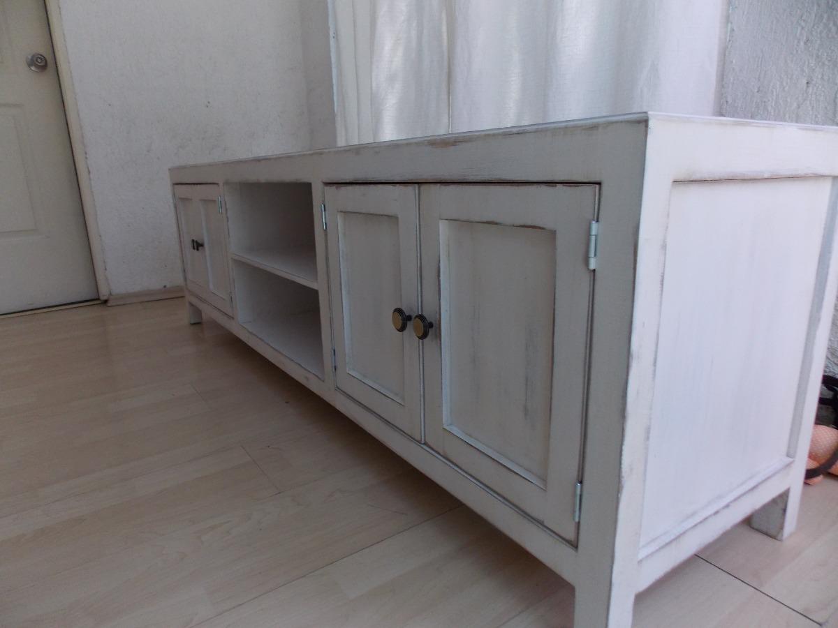 Mueble De Tv Estilo Vintage Color Blanco Antiguo Decapado
