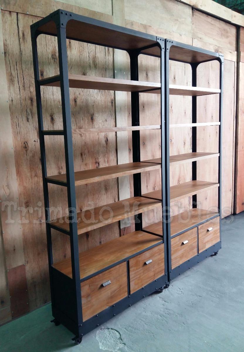 Mueble Divisor Biblioteca Hierro Y Madera Con Ruedas