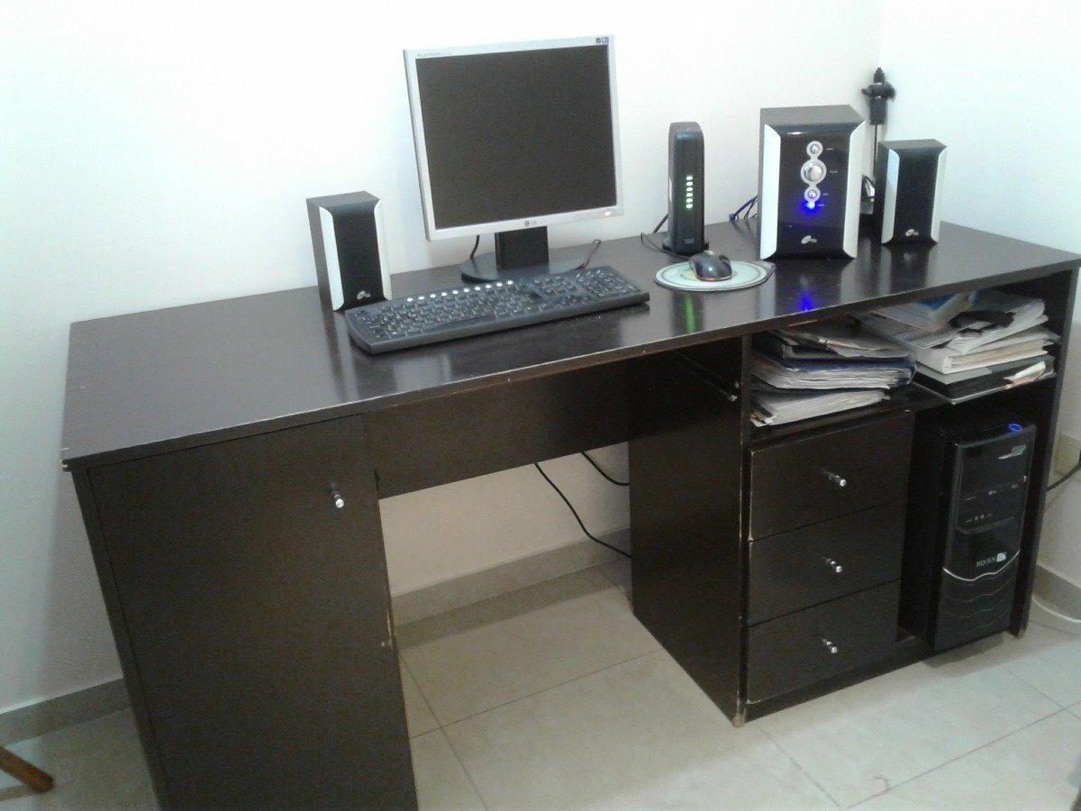 Mueble Escritorio Negro Grande Para Casa U Oficina 160 M