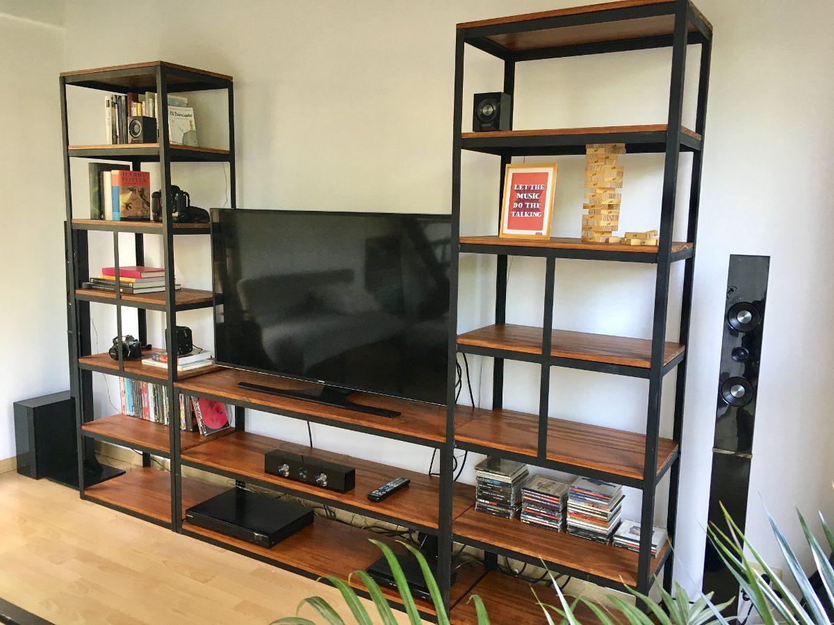 Mueble Para Tv Industrial Estantera En Hierro Y Madera