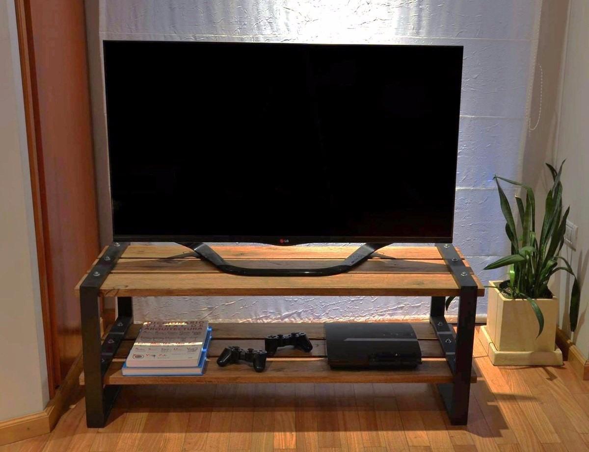 Muebles Mesas Rack Para Tv Led Madera Y Hierro   5190