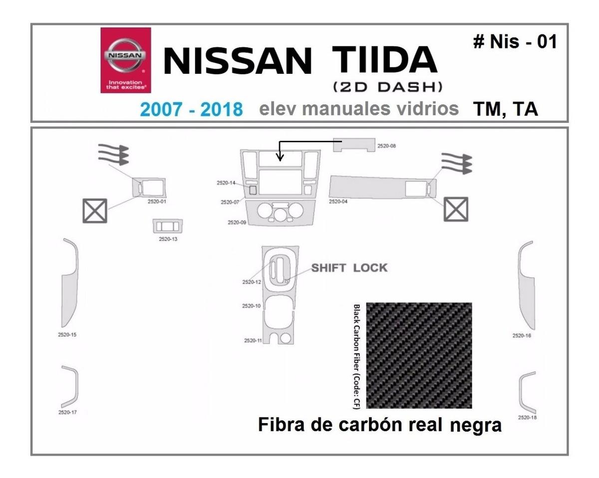 Nissan Tiida 2007 2018 Kit Tablero Fibra De Carbón Real