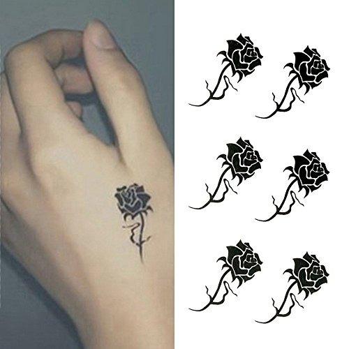 Oottati Tatuajes Temporales Negro Rose Mano Juego De 2 72990