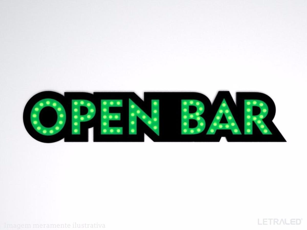 Painel Luminoso Em Led Open Bar Luminria Boteco Cerveja