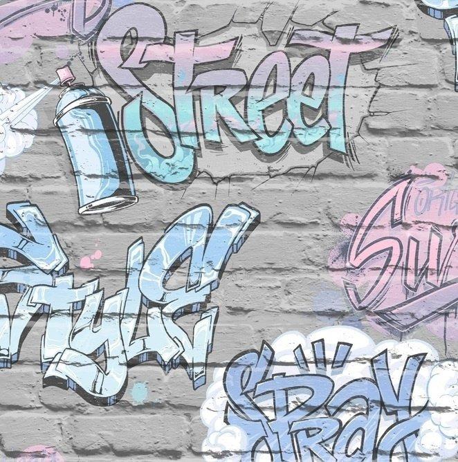 Papel De Parede  Muro Pichado  Colorido  Adesivo Vinil