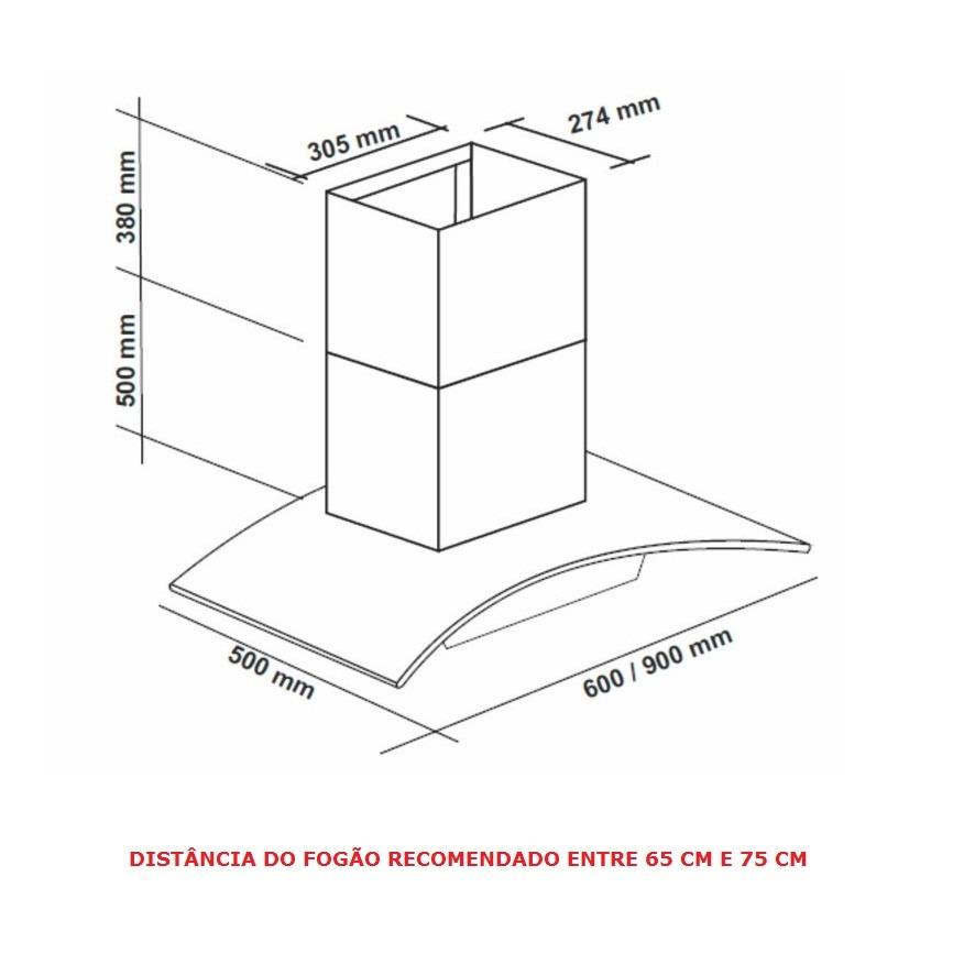 Coifa De Parede Inox E Vidro 90cm Cpv90-02 Agratto 220v