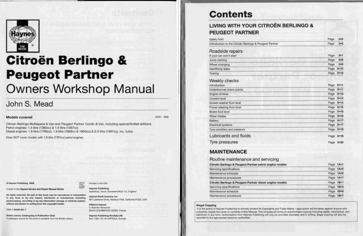 Peugeot Partner / Citroen Berlingo Haynes Manual